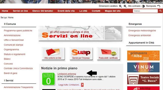 Semaforo antismog sito Comune Alba