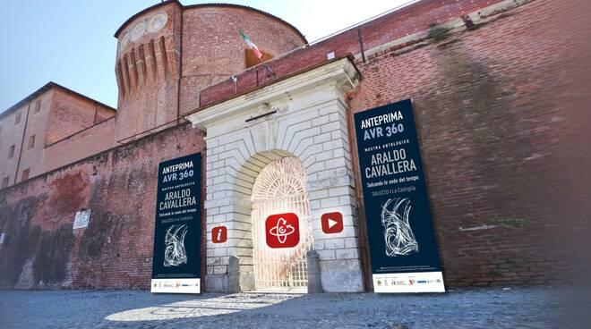 L'ingresso  AVR 360  mostra antologica su Araldo Cavallera alla Castiglia Saluzzo