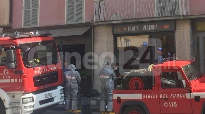 Intervento vigili fuoco antiCovid Mondovì