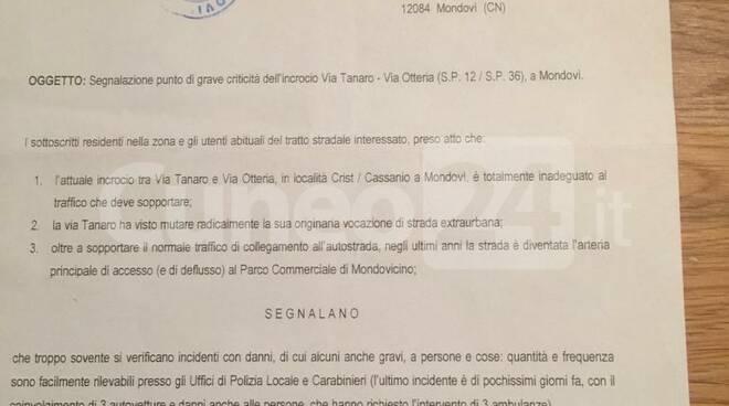 Lettera 2013 al Comune di Mondovì per rotonda via Otteria