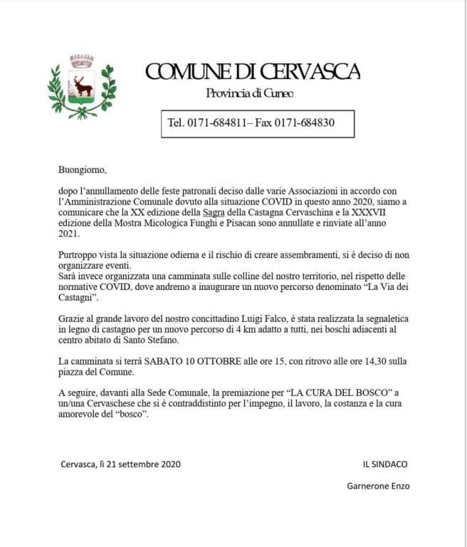 Cervasca, no castagnata
