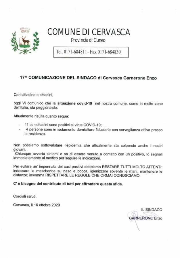 Covid Cervasca 11 casi