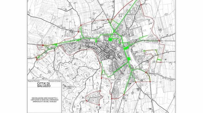 città di saluzzo mappa aggiornata circolazione antismog